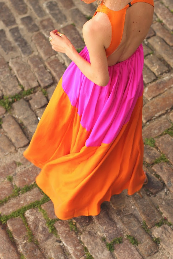 atlantic pacific tibi dress pink orange colorblock maxi