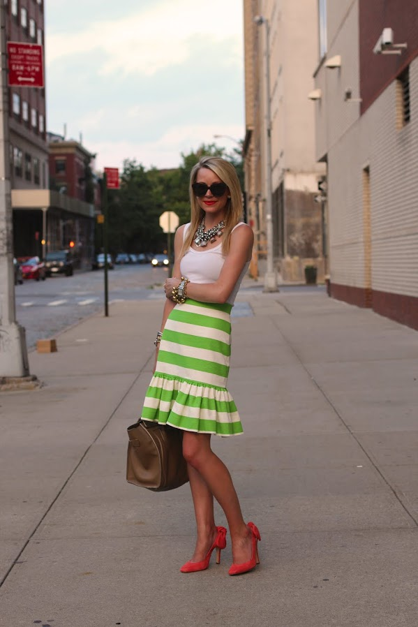 atlantic pacific stripes carven bow kate spade green