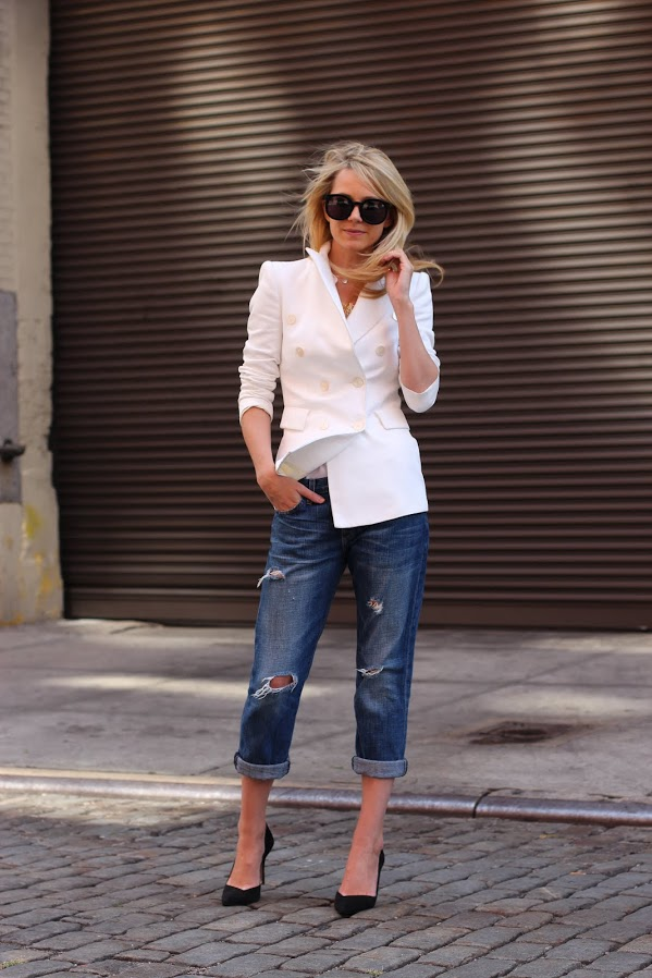 atlantic pacific blazer white denim destructed