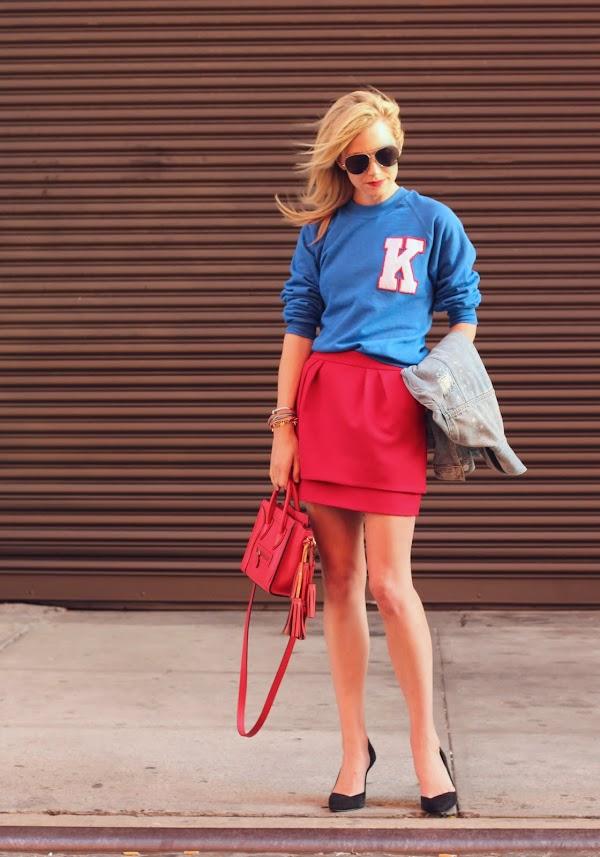 vasity top red skirt denim jacket sporty atlantic pacific