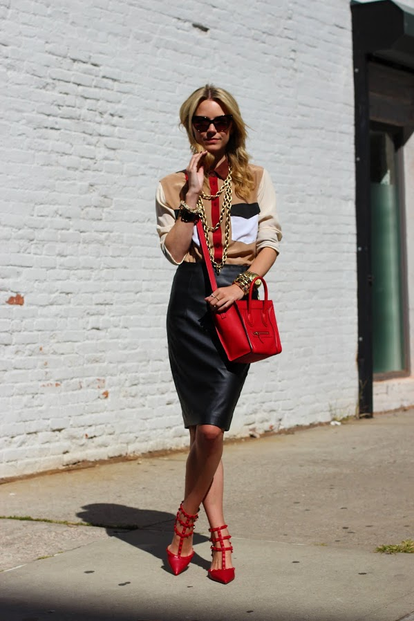 atlantic pacific red valentino equipment leather skirt gold chains