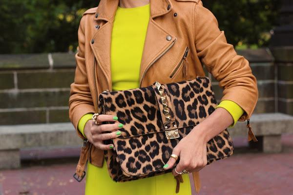 atlantic pacific neon leopard dress leather moto