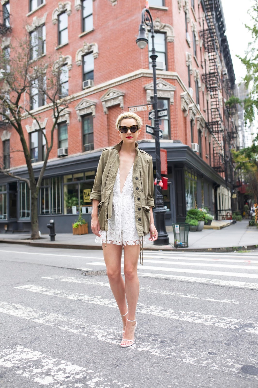10428a4b015 Romper (also love this one). Shoes  Stuart Weitzman (similar on sale).  Sunglasses  Karen Walker. Jacket  Zara (old