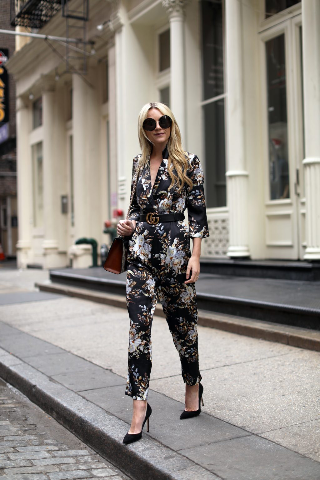blair-eadie-floral-jumpsuit-black-asos-pumps-gucci