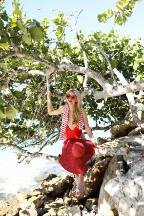 asos-red-bathing-suit-one-piece-atlantic-pacific-blair-eadie-stripes-stripe-jcrew-red-straw-hat