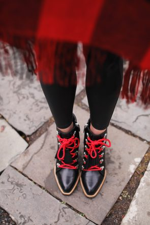 atlantic-pacific-booties-red-laes-tods-hiking-boots-poncho-plaid