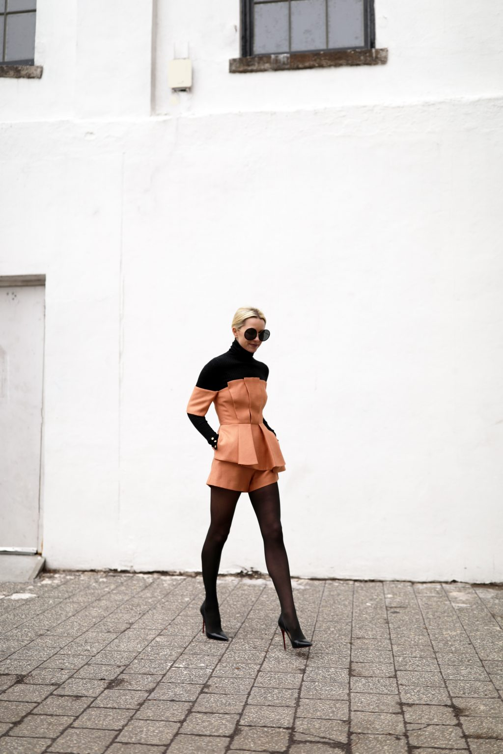 blair-eadie-atlantic-pacific-blogger-nordstrom-cmeo-pleated-romper-black-tights-christian-louboutin