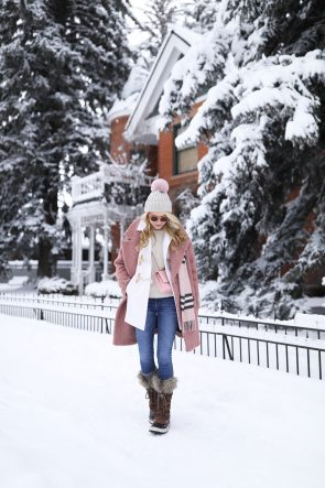 blair-eadie-atlantic-pacific-fashion-blog-aspen-outfit-denim-layering-fur-boots-pink-coat-cream-sweater