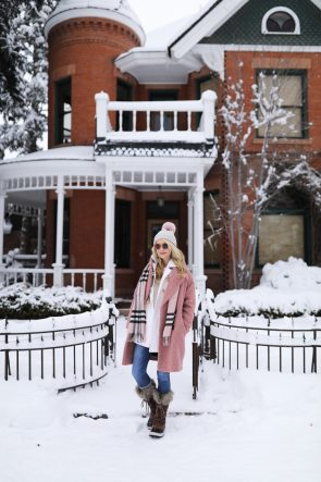 blair-eadie-atlantic-pacific-pom-hat-pink-layering-winter-outfit-aspen-snow