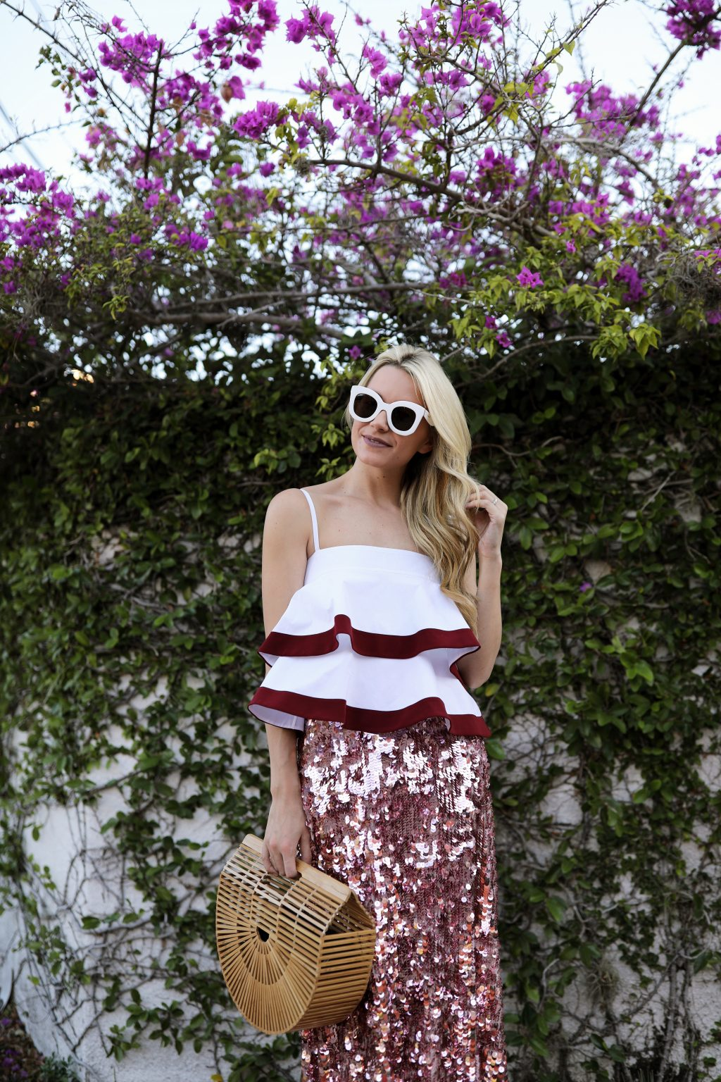blair-eadie-atlantic-pacific-tory-burch-outfit-travel-ideas-sparkle-sequin-skirt