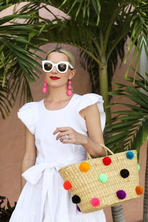 blair-eadie-white-celine-sunglasses-white-ruffle-dress-rainbow-pom-poms-shutz-shoes