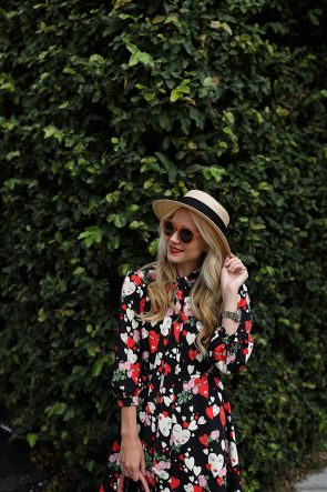 eugenia-kim-boater-hat-vivetta-heart-print-dress-pink-sunglasses