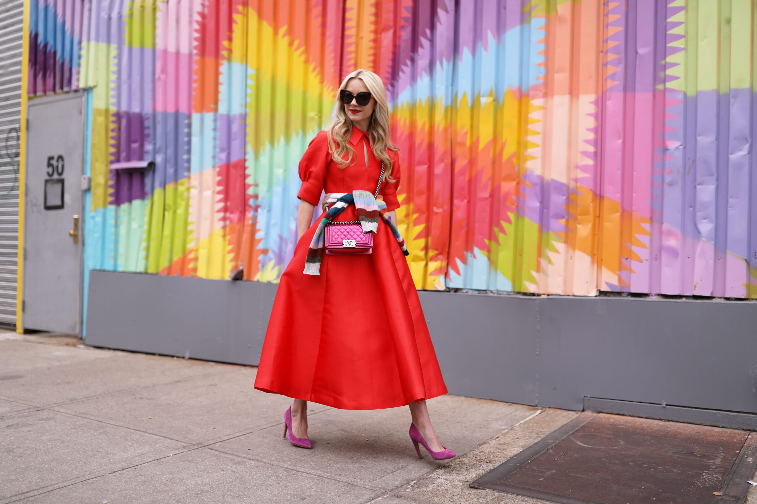 b05c98506121 ... red-dress-chanel-bag-pink-holiday-ready-2016- ...