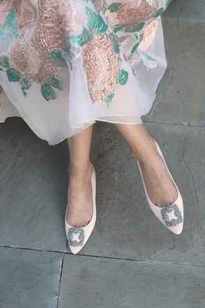 BLAIR EADIE ATLANTIC-PACIFIC BLOG FLORAL DRESS SPARKLE FLATS LELA ROSE