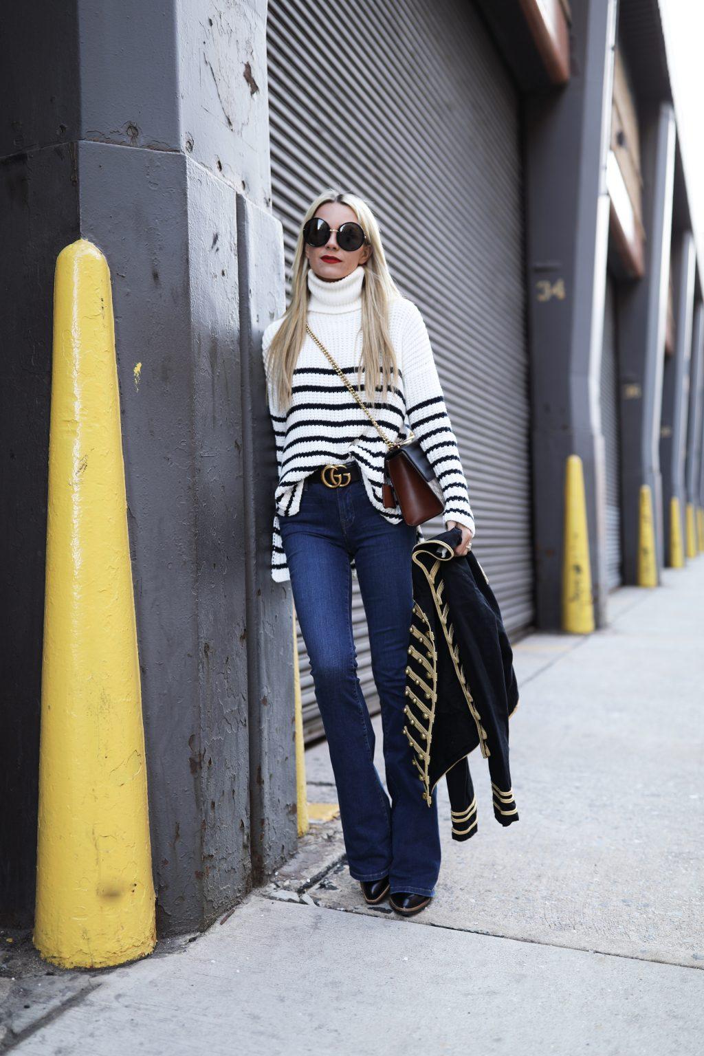 atlantic-pacific-nyc-blog-street-style-stripe-stripes-band-jacket-gucci-bag-denim-jeans