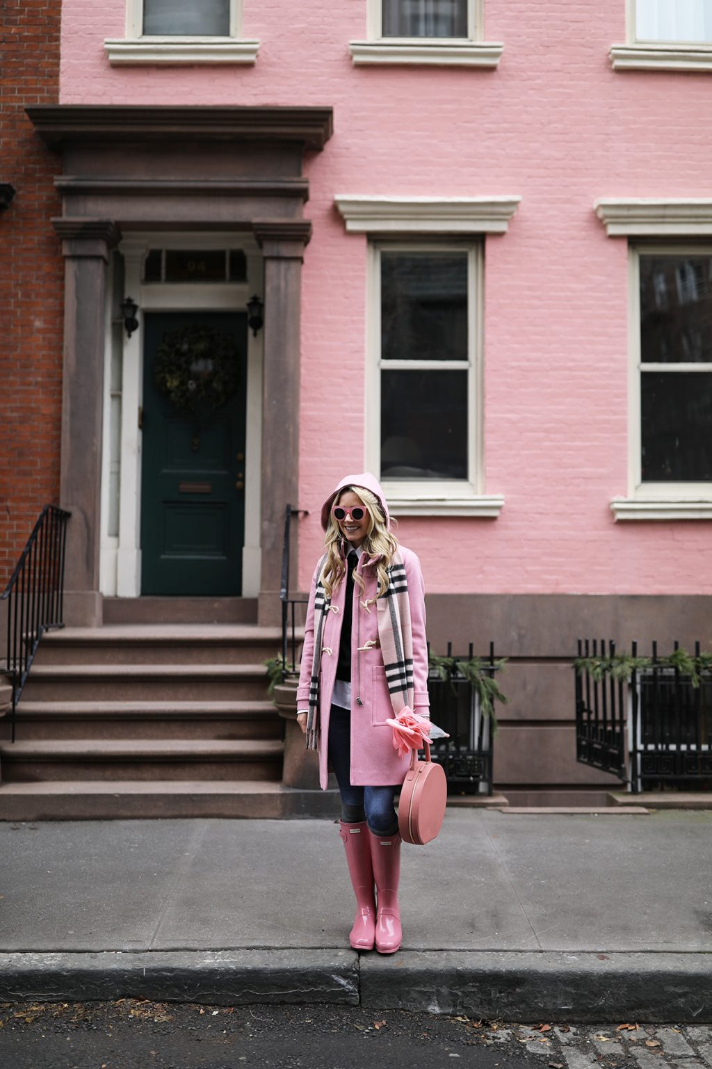 blair-eadie-atlantic-pacific-blogger-ny-fashion-jcrew-pink-toggle-coat-hunter