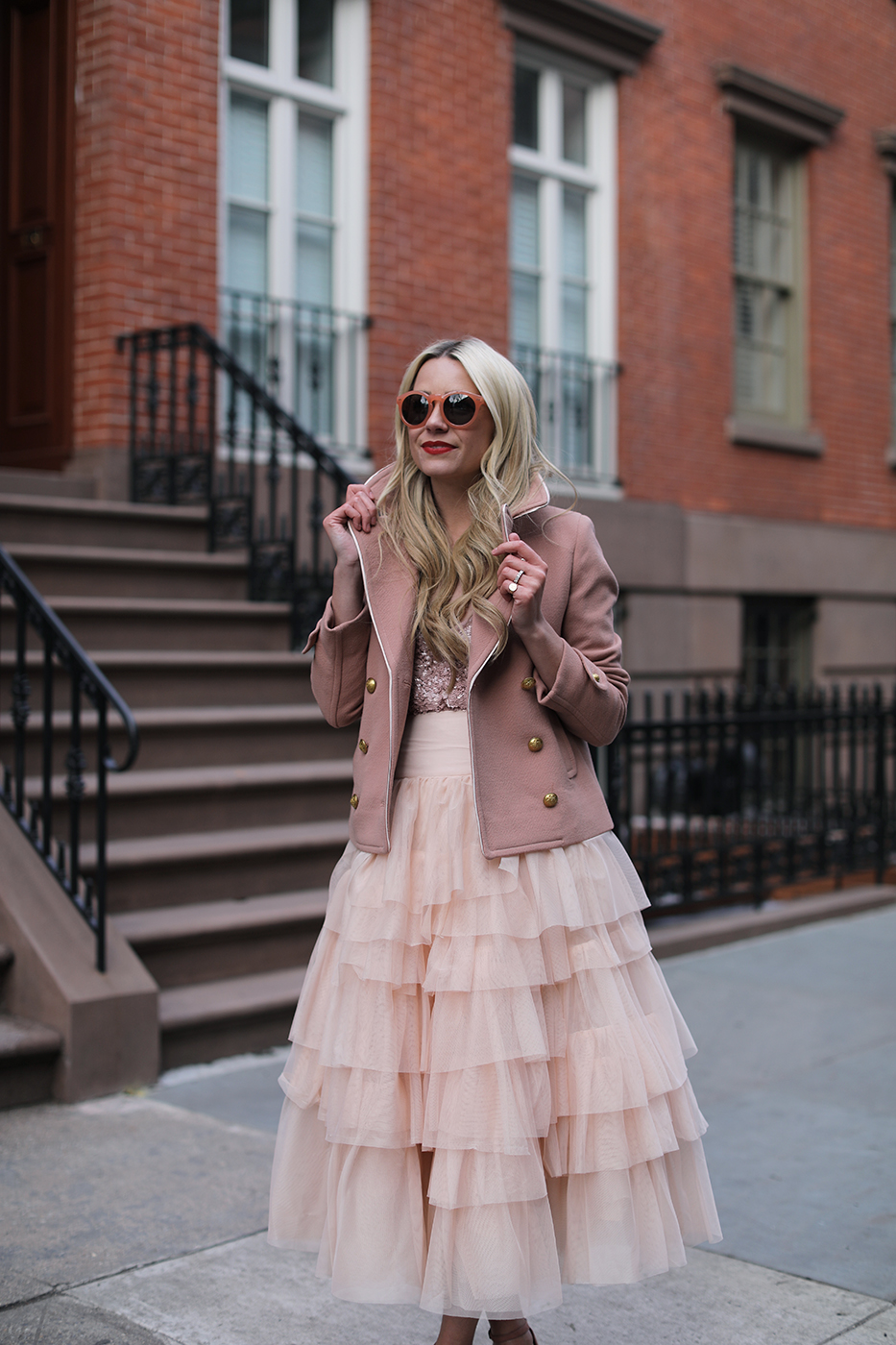 pink-sunglasses-blush-peacoat-jcrew-sequin-tank-pumps-nordstrom-asos-blair-eadie