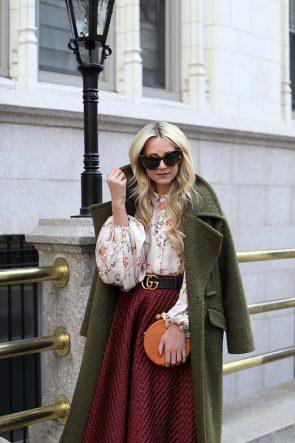 Atlantic-Pacific Blog // Gramercy Park, Floral Top, Gucci Belt, Blush Flats