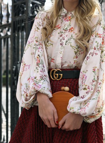 Atlantic-Pacific Blog // Gramercy Park, Floral Top, Gucci Belt, Blush Flats