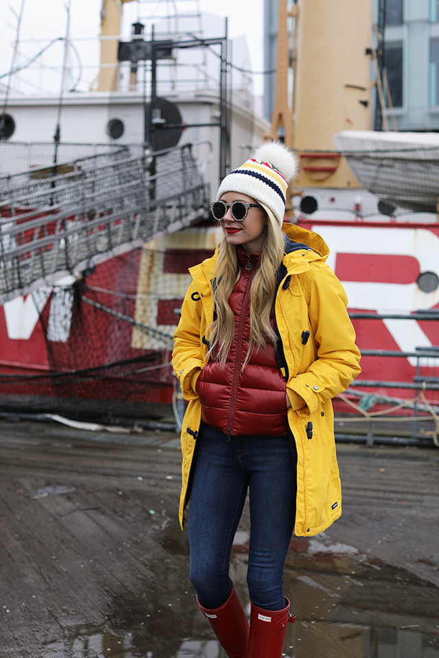 Atlantic-Pacific Blog // Blair Eadie Hunter Boot Rain Style, Red & Yellow Outfit