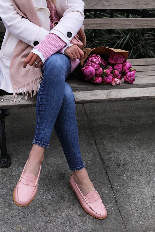 Atlantic Pacific // Sweetness Pink Loafers, JCrew collection tunic & Burberry Coat