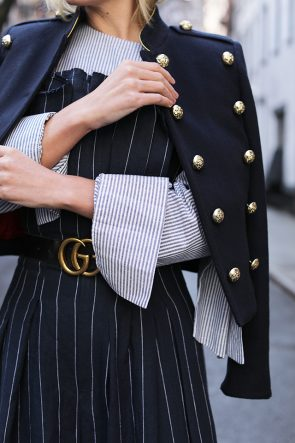 Atlantic-Pacific // Pinstripe Jumpsuit, Gucci Logo Belt, & Burberry Jacket