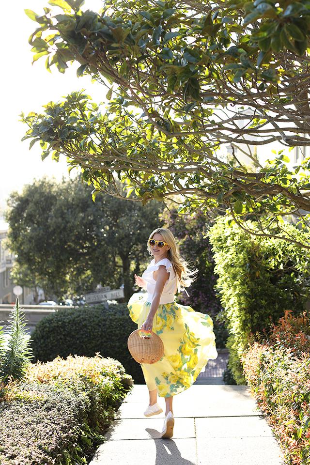 Atlantic-Pacific San Francisco Blogger // Lela Rose Skirt & Straw Bag