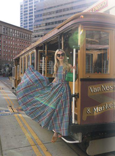 Atlantic-Pacific // San Francisco Fashion Blogger, Plaid Dress, Tory Burch Purse