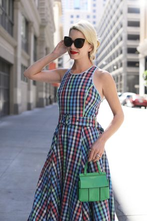 Atlantic-Pacific // San Francisco Fashion Blogger, Plaid Dress, Tory Burch Purse