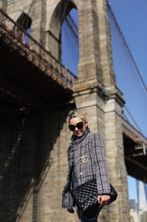 Atlantic-Pacific // Tweed and Pearls on the Brooklyn Bridge