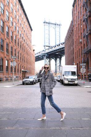 Atlantic-Pacific // Tweed and Pearls on the Brooklyn Bridge