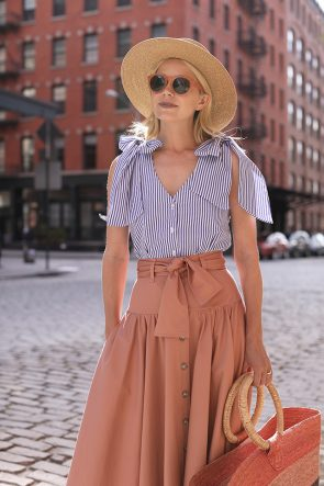 Atlantic-Pacific // Bow Top & Button Front Skirt