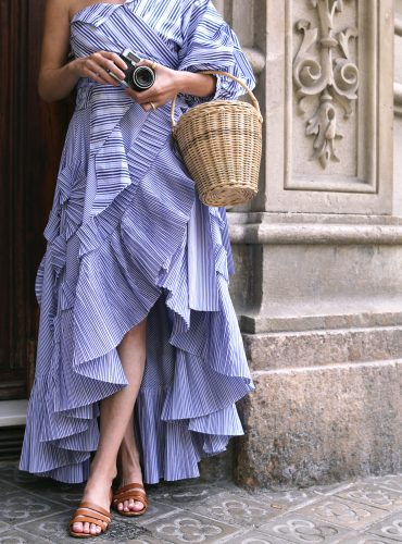 Atlantic-Pacific // Barcelona in ruffle wrap skirt and one shoulder top
