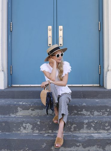 Atlantic Pacific // Gingham Pants and Eyelet Top, Summer Outfit