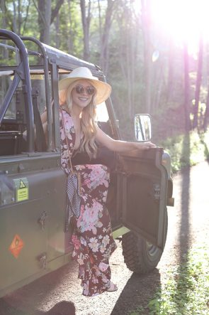 Atlantic Pacific // City to Country, Floral Maxi Dress & Round Straw Bag