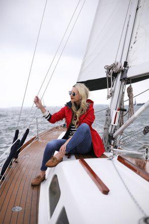 Atlantic-Pacific Blog // Blair Eadie stripes, red coat, sperrys