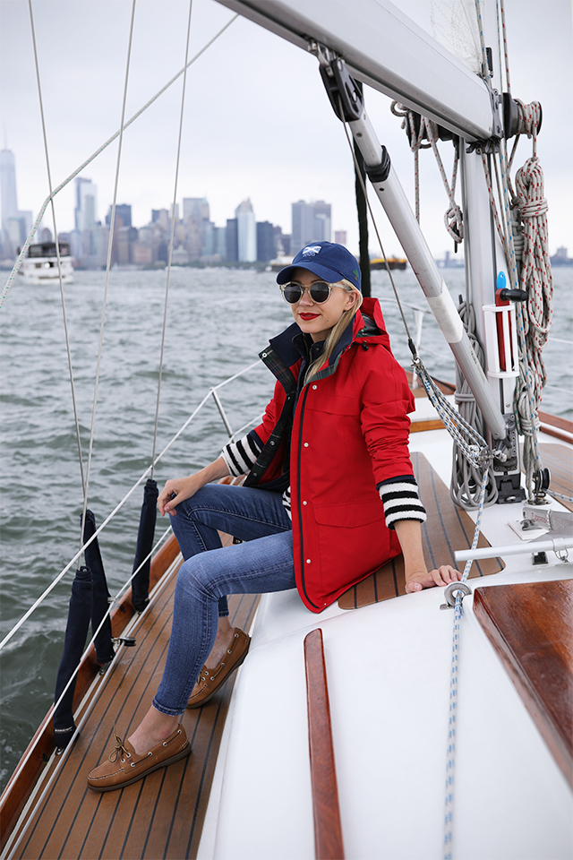 Atlantic-Pacific Blog // Blair Eadie stripes, red coat, sperrys