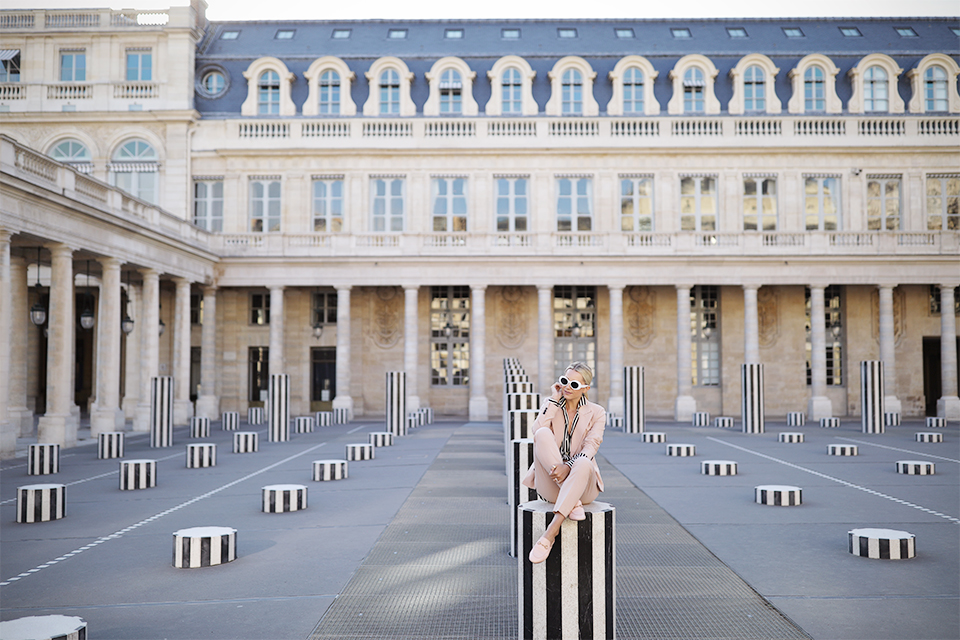 Atlantic Pacific Blog // Blair Eadie in Paris in a pink suit and stripes!