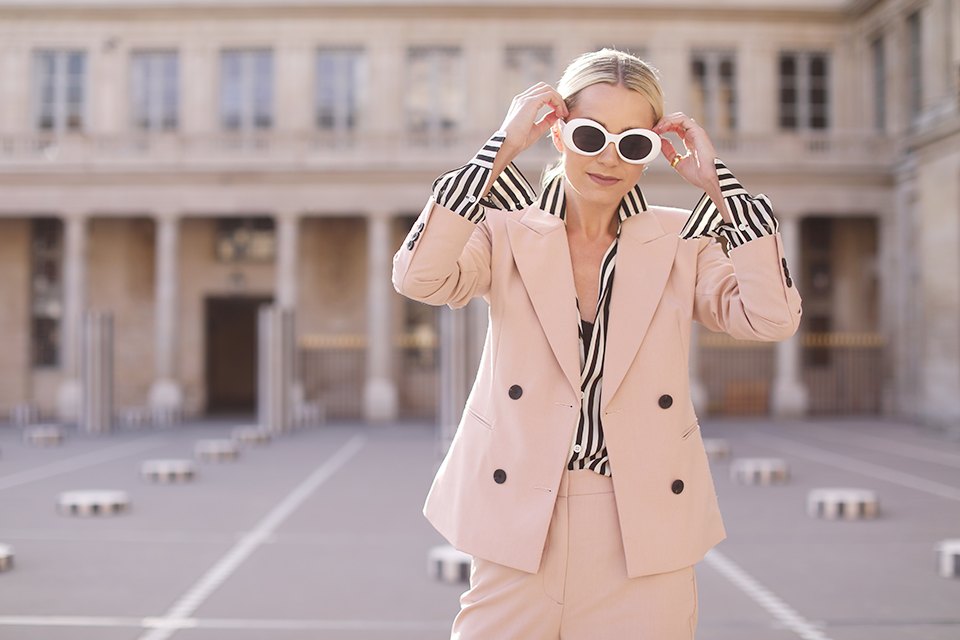 Atlantic Pacific Blog // Blair Eadie in Paris in a pink suit and stripes!