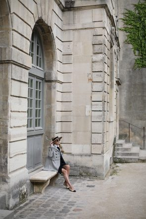 Atlantic Pacific Blog // Blair Eadie Alexander McQueen coat, bow blouse and Chanel flats in Paris