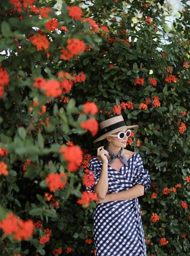 Atlantic-Pacific Blog // Gingham Dress, Straw Hat & Chanel Flats