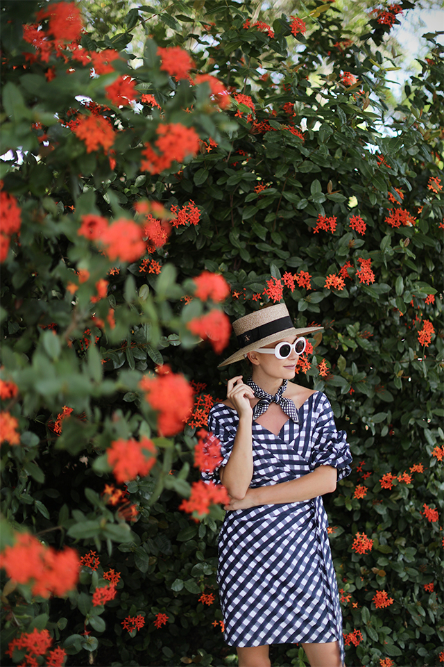 Atlantic-Pacific Blog // Gingham Dress, Straw Hat & Chanel Flats