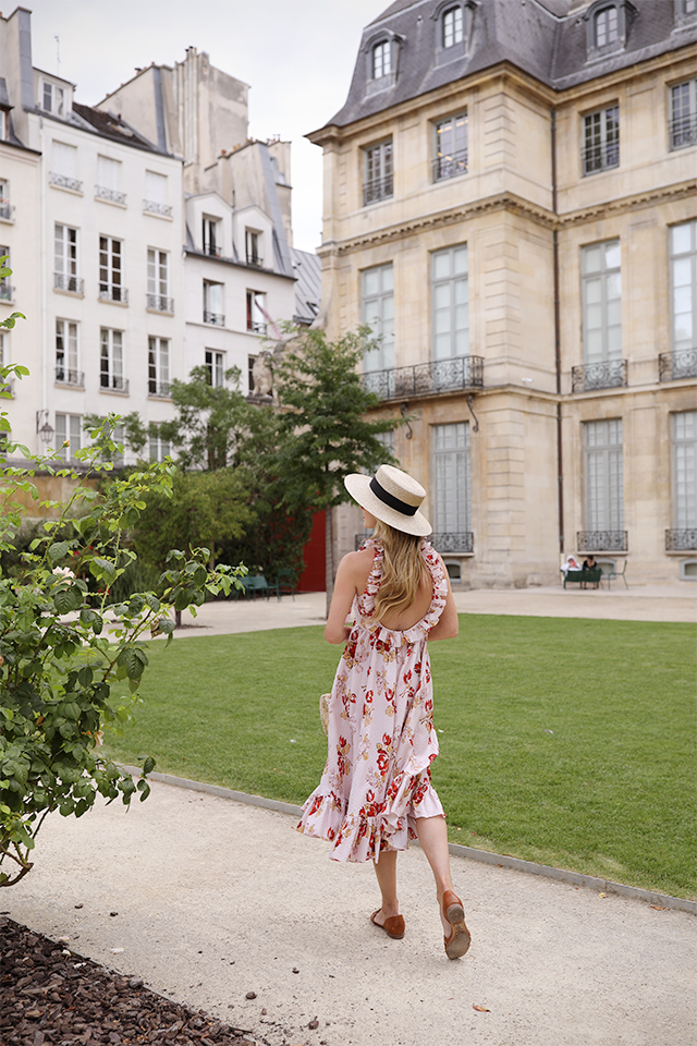 Atlantic-Pacific Blog // Blair Eadie Floral Jill Stuart Dress, straw hat, Pamela Munson Bag in Paris