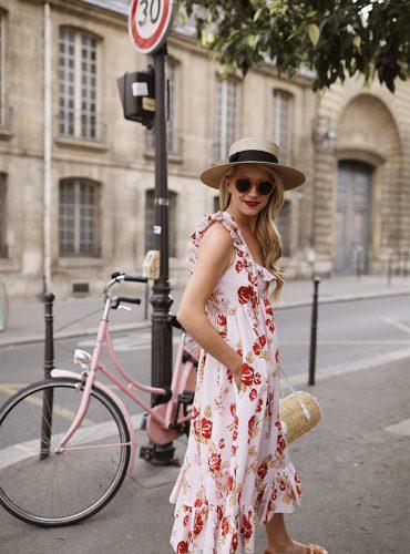 Atlantic-Pacific Blog // Blair Eadie Floral Jill Stuart Dress, straw hat, Pamela Munson Bag in Paris