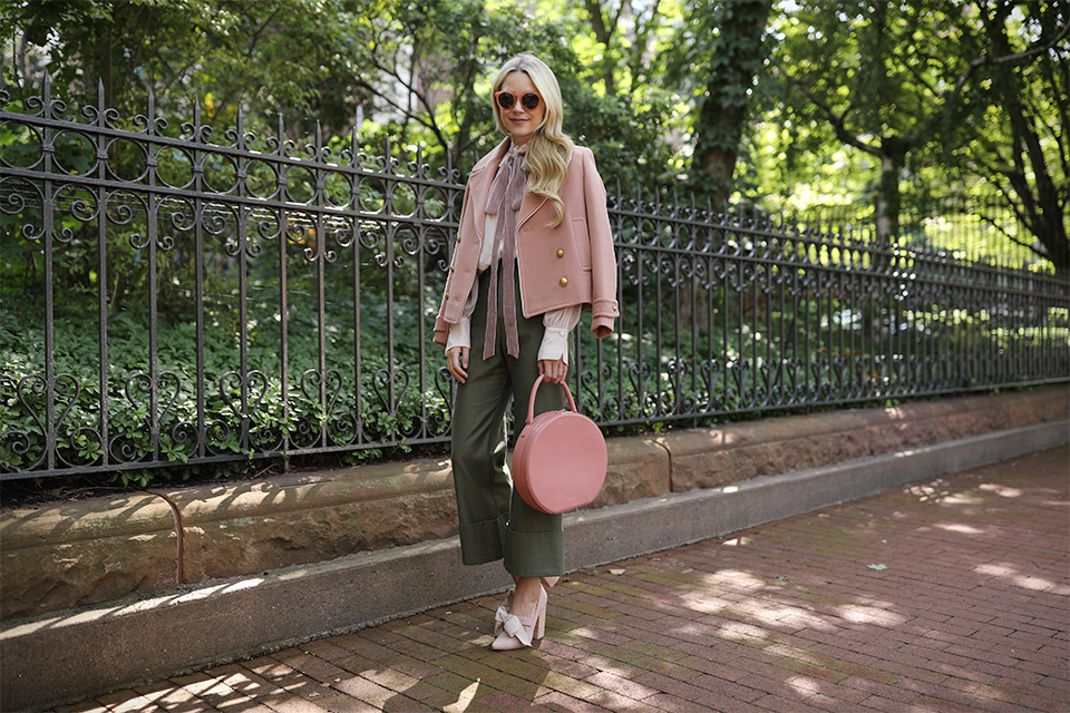Atlantic Pacific // Velvet bow shoes, olive pants and blush coat