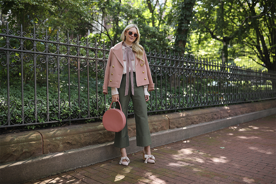 Atlantic Pacific // Velvet bow shoes, olive pants and blush coat
