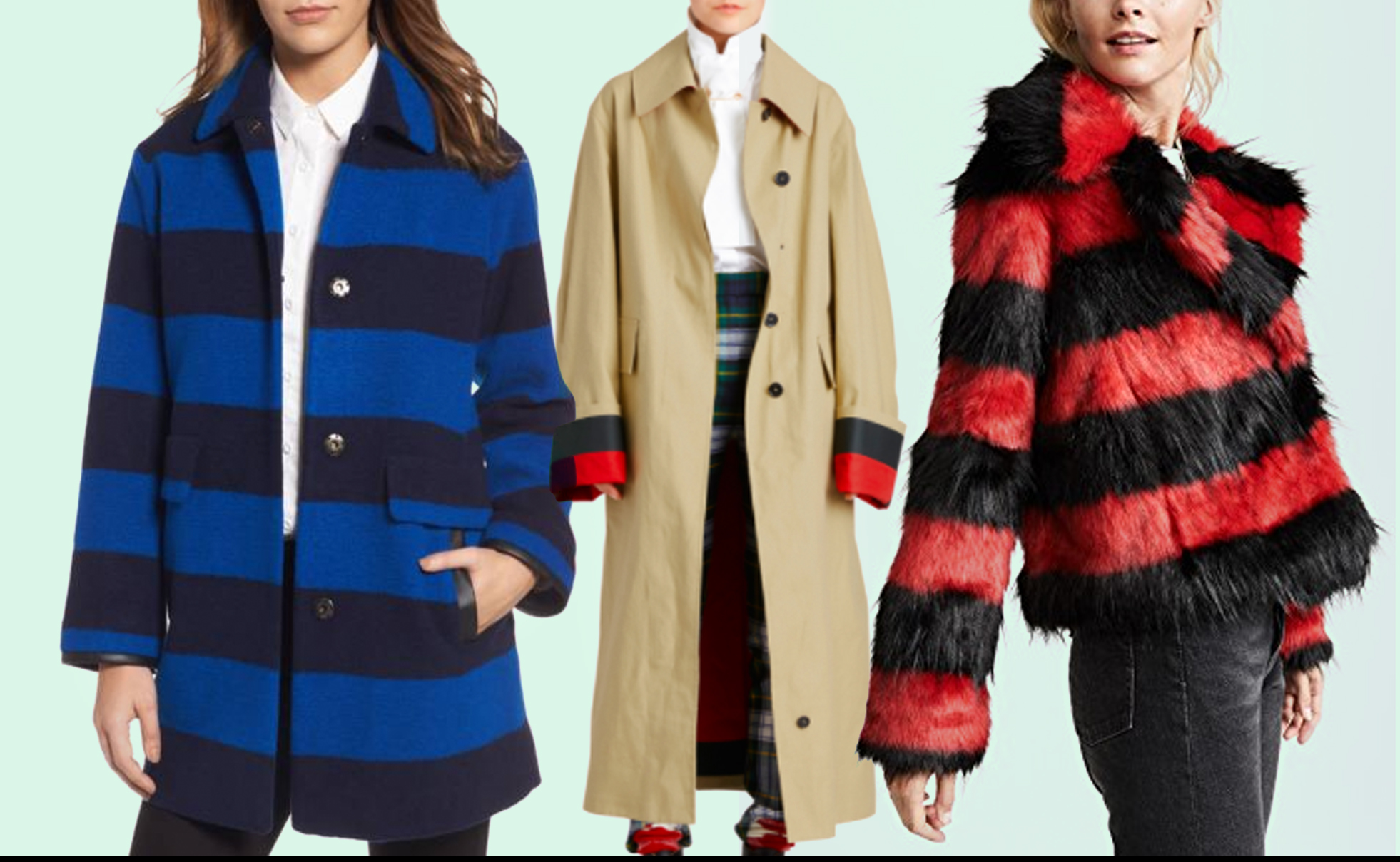 statement coats stripe
