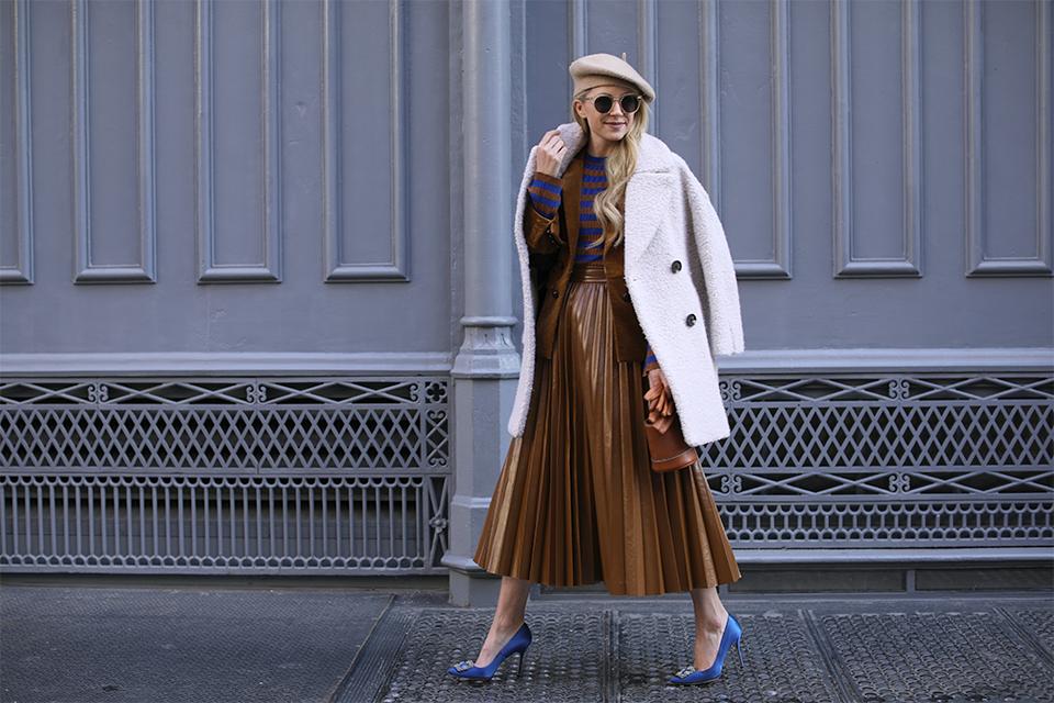 Blair Eadie stripe top and pleated skirt