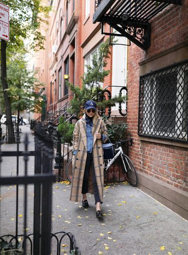 Atlantic Pacific // Fall outfit, casual look, check coat and denim jacket