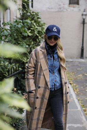 Atlantic Pacific Blog, fall outfit, causal weekend style, check coat denim jacket